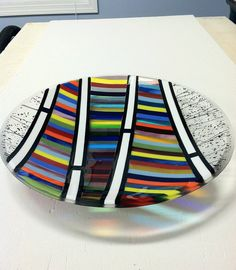 Glass platter/serving dish/plate by PKGlassworks on Etsy Fused Glass Plates, Fused Glass Art, Glass Dishes, Dichroic Glass, Mosaic Glass, Stained Glass, Glass Fusion Ideas, Glass Fusing Projects, Kiln Formed Glass