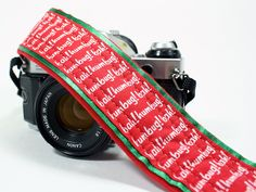 dSLR Camera Strap, Bah Humbug, Christmas, Red, Green