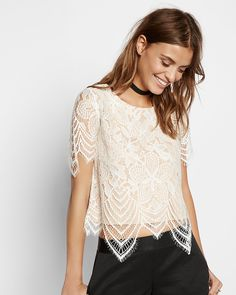 all over lace tee small white