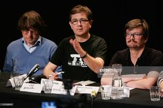 The Charlie Hebdo's cartoonists Cabu (Stephane Charbonnier), Charb and Luz attend a press conference at Theatre du Rond-Point on November 3, 2011 in Paris, France. The offices of French satirical magazine Charlie Hebdo were attacked and completely destroyed a day after they featured a caricature of the Prophet Muhammad on its cover and named him as 'editor-in-chief'.