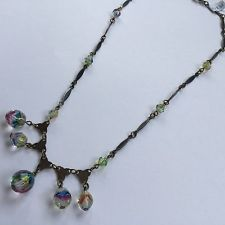 Preloved - 1930s Dangling Rainbow Glass Bead Art Deco Vintage Costume Necklace