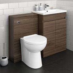 UK Shipping Modern Bathroom Walnut Bathroom Vanity Unit Countertop Basin&Back To Wall Toilet Bathroom Sink Storage, Bathroom Drawers, Shower Storage, Bathroom Vanity Units, Bathroom Layout, Bathroom Furniture, Furniture Storage, Furniture Ideas, Modern Toilet