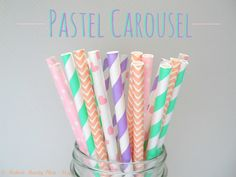 NEW Mint Pink Purple and Peach Paper Straws by ModernMandyShop, $4.00