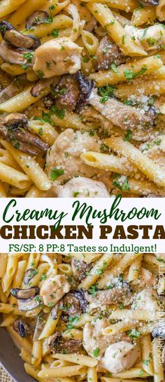 Weight Watchers Chicken and Mushroom Cream Pasta with shallots and shiitake mush. - Weight Watchers Chicken and Mushroom Cream Pasta with shallots and shiitake mushrooms in a creamy sauce topped with Parmesan cheese that's guilt free! Cream Of Mushroom Pasta, Creamy Mushroom Chicken, Creamy Chicken Pasta, Mushroom Cream Sauces, Mushroom Sauce, Chicken And Mushroom Casserole, Chicken Pasta Dishes, Healthy Chicken Pasta, Pasta Food
