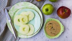 BBC - Food - Recipes : Apple rings with ginger, lemon and black pepper tahini spread Gluten Free Snacks, Keto Snacks, Healthy Snacks, Healthy Recipes, Fruit Recipes, Apple Recipes, Snack Recipes, Recipies, My Favorite Food