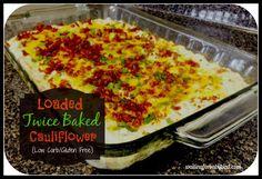 Low-Carb Twice Baked Cauliflower Recipe Twice Baked Cauliflower, Cauliflower Recipes, Vegetable Recipes, Cauliflower Salad, Paleo Recipes, Low Carb Recipes, Cooking Recipes, Bariatric Recipes, Veggie Casserole