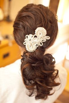 Ponytail with a glam piece: http://www.stylemepretty.com/california-weddings/paso-robles/2012/02/08/still-waters-vineyards-wedding-by-joyful-weddings-and-events/ | Photography: Chloe Murdoch - http://www.chloemurdochphotography.com/