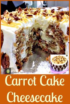Carrot Cake Cheesecake. Looks easy to sub flour and castor sugar