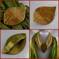 2 Good Claymates: Mokume Gane Leaf Scarf Pendant using a texture sheet by Helen…