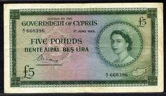 Cyprus banknotes Five Pounds banknote of 1955, Queen Elizabeth II