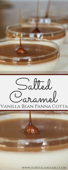 Panna Cotta is an Italian classic.  This very simple versatile dessert is my go-to dessert when I need to both keep it simple but add a little bit of vavoom to my dolci.  Panna cotta ('cooked cream' in Italian) literally takes 10 minutes to pull together – that is it! Try this version, with salted caramel topping! www.ouritaliantable.com