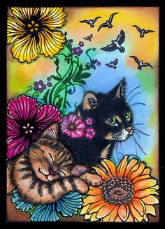 anjas-artefaktotum: The Mommy Cat is wary like a watch-dog Using Designs by Ryn: Hibiscus and Gerbera stamps