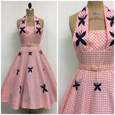 1950s Halter Dress 50s Sundress Butterflies