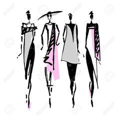 Beautiful Woman silhouette. Hand drawn fashion illustration.