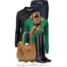 """""""Tan, Black and Green"""", created by jaycee0220 on Polyvore"""