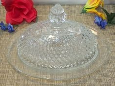 Indiana Diamond Point Oval Butter Dish with Domed Lid Diamond Point, Kings Crown, Early American, Butter Dish, Indiana, Dishes, Crystals, Glass, Pattern
