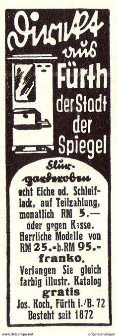 Werbung - Original-Werbung/ Anzeige 1935 - FLURGARDEROBEN / JOSEF KOCH - FÜRTH - ca. 25 x 60 mm