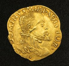 Demi-Real d'or (half a golden Royal) Gold Coin, King Philip II of Spain, Flanders Bruges 1576 issued by Philip II as Lord of the Seventeen Provinces. Obverse: Armored bust of Philip II of Spain to right. Privy mark (lis), flanked by pellets below. (coins were often named for the image they carried:- noble, royal, angel, eagle, crown, sovereign etc.)
