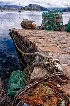 The slipway in Plockton leading down to Loch Carron with an assortment of lobster pots ready for that days fishing. My Home Design, Fishing Villages, British Isles, Belle Photo, Photos, Pictures, Edinburgh, Countryside, United Kingdom