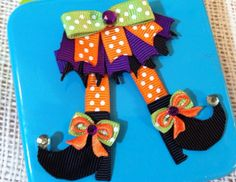 Halloween Witch Shoes Hair Clip could totally tailor for Christmas