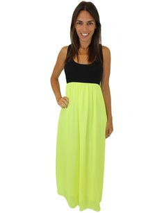 Black and Neon Yellow Maxi Dress – Mel