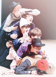 Coz they are real family, and will stand by each other's side no matter what happened, and continue to love and care for each other BTS the best, ARMY the best! << lol namjoon and v look dead on the bottom hahaha Namjoon, Jhope, Seokjin, Taehyung, Bts Bangtan Boy, Bts Predebut, Bts Memes, Park Ji Min, Foto Bts