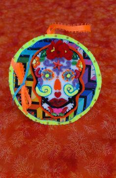 Felt Skull-Handmade Neon Sugar Skull by DebsArtsyEnchantment