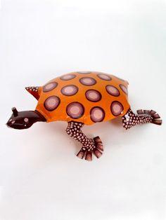 Large Tin Tortoise, hand painted in Zimbabwe. $36
