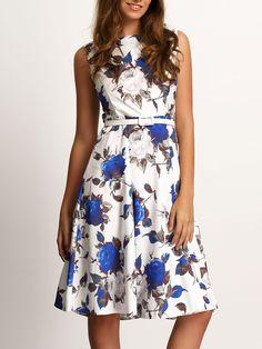 Vestido escote redondo sin manga flores-(Sheinside)