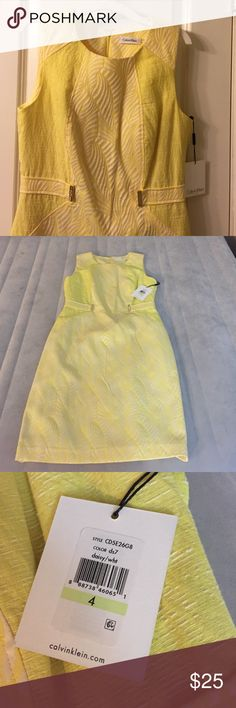 """White and Yellow Calvin Klein size 4 dress!! NWT Yellow and white lined, NWT, Size 4 Calvin Klein dress! Hits just at the knee for me (I'm 5'3""""). Always willing to accept offers or bundles! ☺️ Calvin Klein Dresses"""