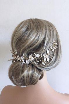 Bridal Hair Half Up, Bridal Hair Vine, Bridal Veils, Boho Wedding Hair, Star Wedding, Wedding Dress, Gold Hair, Wedding Hair Accessories, Hair Piece