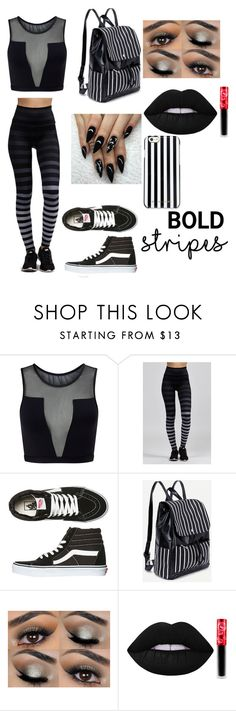 """black and white stripes"" by scarlettpanda7898 ❤ liked on Polyvore featuring Varley, K-Deer, Vans, Lime Crime and MICHAEL Michael Kors"