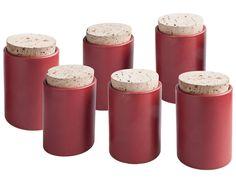 6er Set Gewürzdosen aus Ton - Steinzeug Tontiegel mit Korken, matt rot, 92/65mm: Amazon.de: Küche & Haushalt
