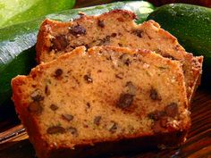 Chocolate Chip Zucchini Bread- I added a heaping tablespoon of cocoa to half the batter and layered the halves .