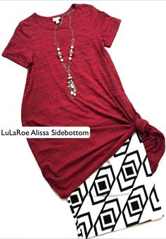 Gorgeous cranberry red with black micro stripe LuLaRoe carly paired with a LuLaRoe black and white geometric Cassie skirt! https://facebook.com/groups/lularoealissasidebottom