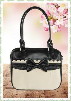 22b27a9b251b3 Küstenluder 50er Jahre Vintage Rockabilly Tasche - Belva - Schwarz Weiß  Retro Handtasche in schwarz
