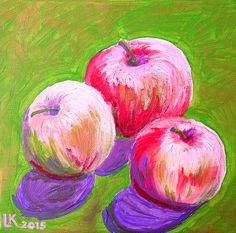 I love apples! Normally I eat them. Today I managed to paint them (and eat them afterwards:))