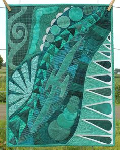 Quilted Art Wall Hanging  Doodles in Teal  by PersimonDreams wallhang, quilt art, art wall, hang doodl