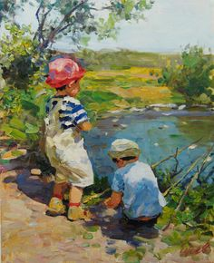 Little fishermen, Vladimir Gusev- painting, sunny summer day, the river, the young fishermen Pictures To Draw, Art Pictures, Art Pics, Painting & Drawing, Watercolor Paintings, Classic Artwork, Painting People, Art Impressions, Antique Photos