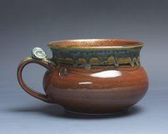Handmade pottery soup mug ceramic chili mug cereal ice cream bowl iron red 20 oz 3984 by BlueParrotPots on Etsy