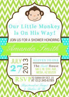 Cute little monkey boy baby shower invitation pinterest boy baby boys baby shower invitation monkey chevron green turquoise brown printable digital filmwisefo
