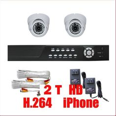 """Complete 4 Channel CCTV DVR (2T HD) Surveillance Network System Package with (2) x 560TVL  1/3"""" SONY CCD  Vari-Focal 2.8~10mm Lens Indoor Dome Security Cameras by Gw. $610.00. Package Includes:      GW2544SV-N DVR with 2T HDD;     Remote Control and mouse;     2 x GW105H -1/3"""" SONY CCD Camera;     2 x GW60CAW: 60 feet pre-made cable BNC;     2 x GW12V0.5A: 12V 0.5A Power Supply for Security Cameras."""