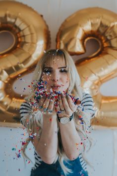 22nd birthday shoot with confetti