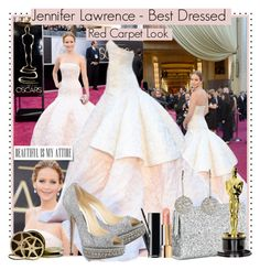 Oscar 2103 - Super Winner - Jennifer Lawrence by karineminzonwilson on Polyvore featuring Jimmy Choo, Shamballa Jewels, MAC Cosmetics, Chanel, women's clothing, women's fashion, women, female, woman and misses