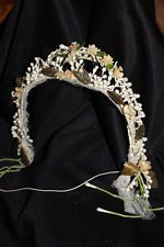 Antique VINTAGE Bridal WAX TIARA Headpiece Crown WAX BLOSSOMS & GREEN LEAVES