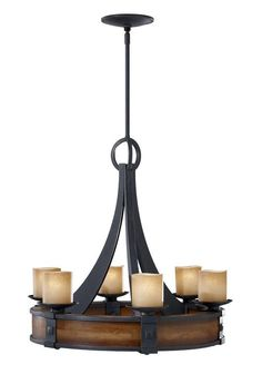 "Murray Feiss F2591/6 Madera 6 Light 1 Tier Chandelier with ""Fleur De Lis"" Glass Shades"