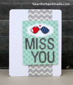 Miss You card, Using stamps from Lawn Fawn, papers from Fancy Pants and Webster's Page