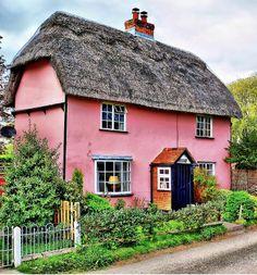 Pretty Pink Cottage at Belchamp Otten, Essex - England.