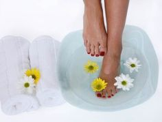 Treating sore or smelly feet     Soak your feet in 1 gallon of warm water and 1 cap-full of bleach. This takes the soreness out of your feet and kills bacteria that cause the smelly feet.