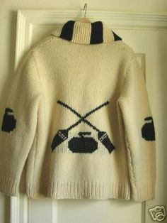 Cowichan style cardigan with curling design. Winter Fun, Knit Or Crochet, Curling, Knit Cardigan, Random Things, Hand Knitting, Crisp, Rocks, Stones